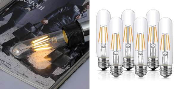 4. HQCHAN Dimmable LED Edison Style Tubular Lights