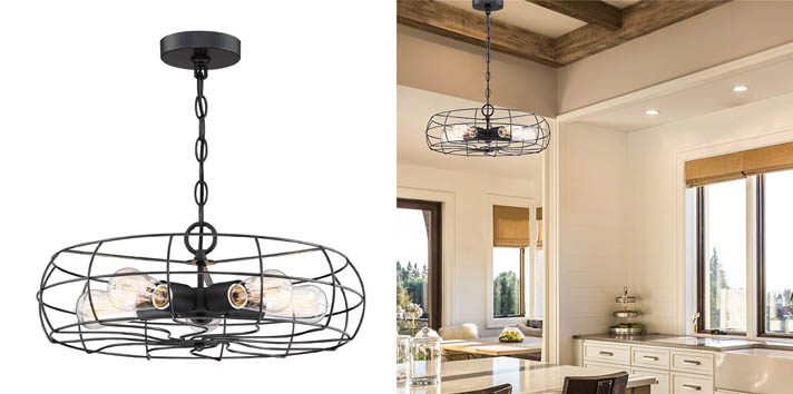 5. Kira Home Gage Metal Cage Industrial Modern Chandelier