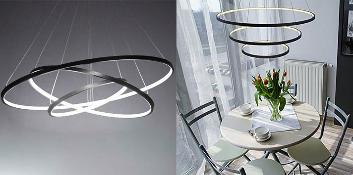 6. LightInTheBox 3 Rings Black Contemporary Chandelier