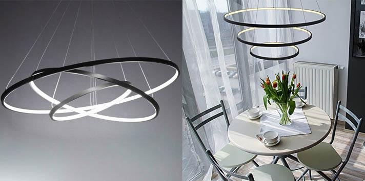 6. LightInTheBox 3 Rings Black Contemporary Chandelier