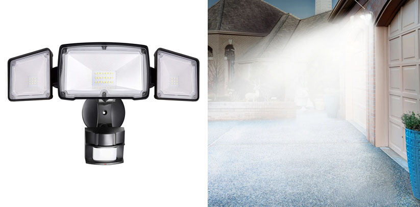 Amico 3 Head LED Security Lights Motion Sensor Outdoor