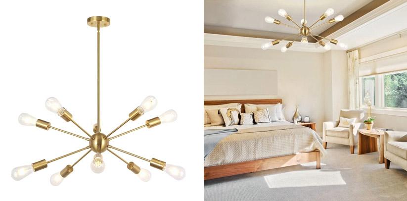 BONLICHT Sputnik Chandelier 10 Light Brushed Brass Modern Pendant Lighting
