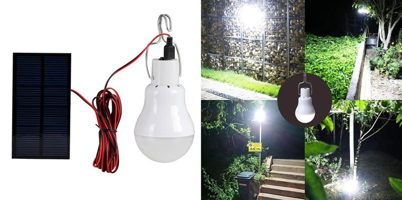 4. Solar LED Light Bulb, Portable Solar Powered Lamp Lantern
