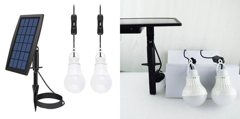 8. FEIFEIER Solar Power Shed LED Bulb Lamp