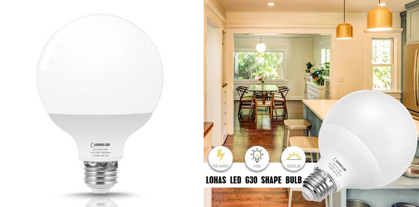 LOHAS G30 Globe LED 100W Equivalent Light Bulb