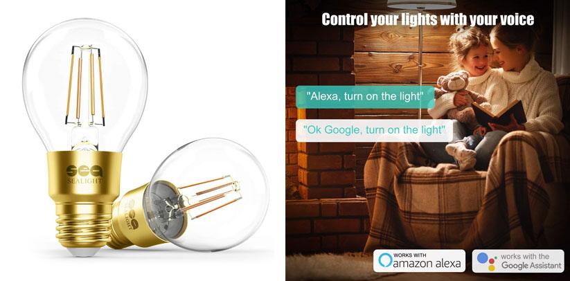 Smart Light Bulb, SEALIGHT Smart Bulb Glass Vintage Edison Smart WiFi LED Bulb