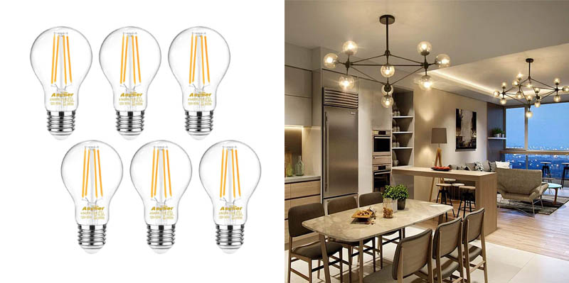 Ascher LED Filament Light Bulbs with Clear Glass