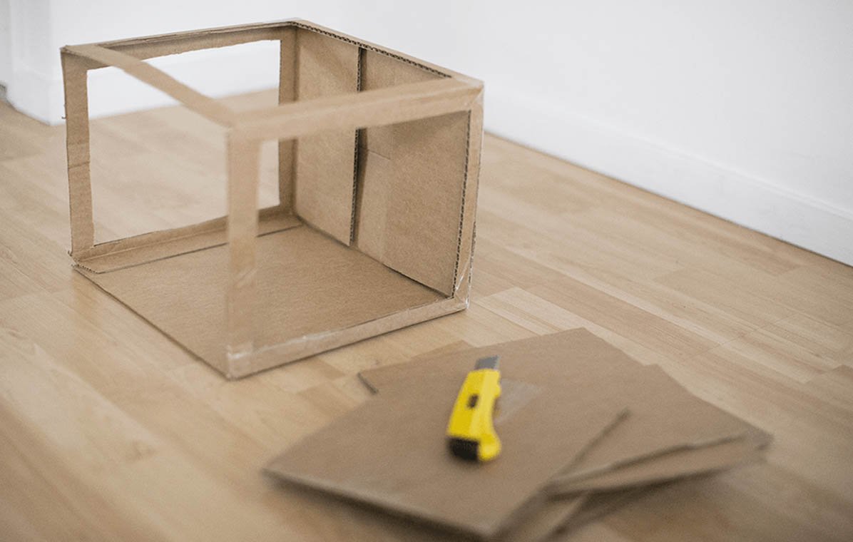 Cutting Out Cardboard Light Box