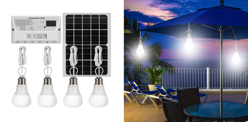 YINGHAO Solar Lights Indoor Home with 4 Hanging LED Bulbs