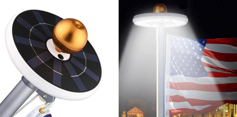FEELLE Solar Flag Pole Lights 32 LED Solar Powered Flagpole Lighting