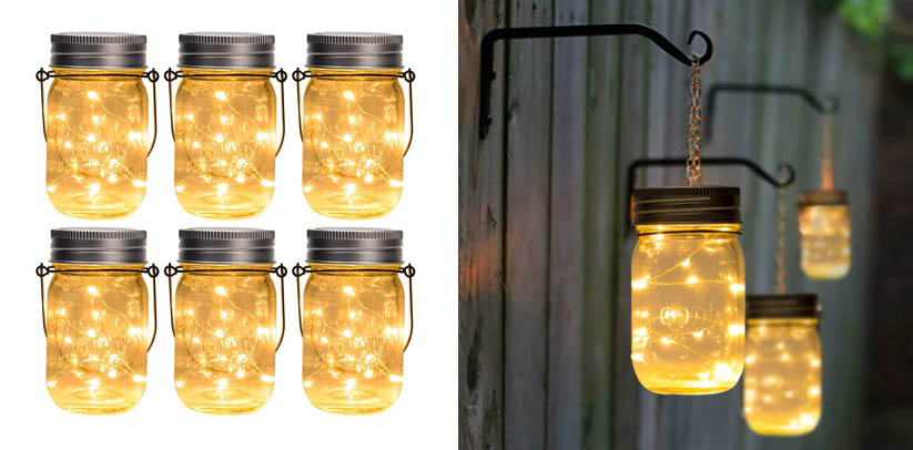 GIGALUMI Hanging Solar Mason Jar Lid Fairy Lights