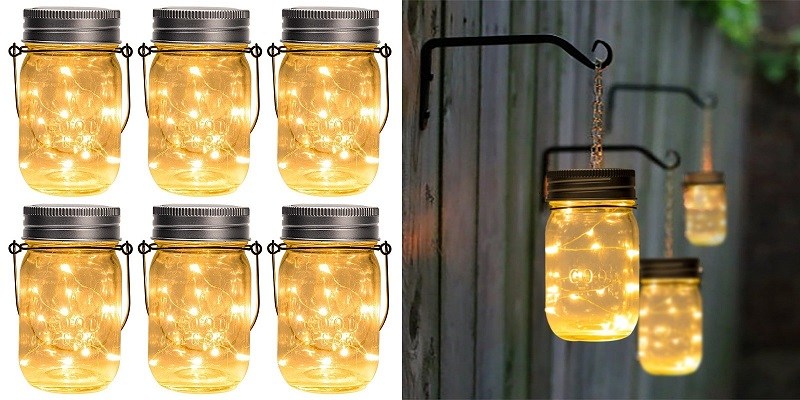 1. GIGALUMI Hanging Solar Mason Jar Lid Lights.