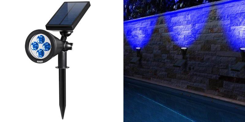 AMIR 2 in 1 Solar Spotlights, Upgraded Solar Garden Lights Outdoor