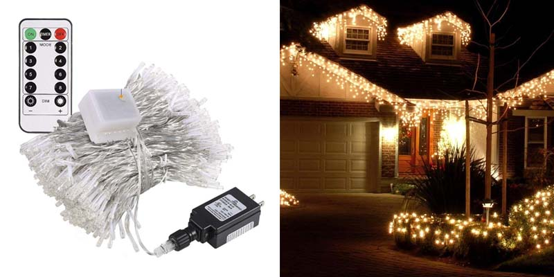 -right 480 LED Icicle Lights, 32.8ft x 2.6ft Christmas Lights