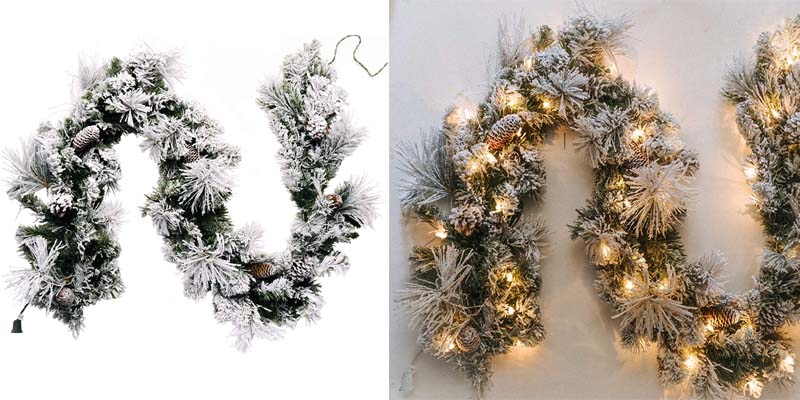 CraftMore Frosted Holiday Pine Garland with Lights