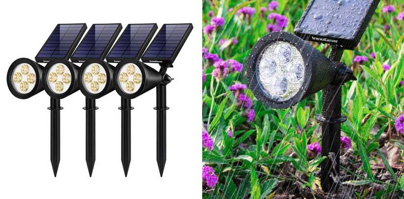 InnoGear Solar Lights Outdoor, Upgraded Waterproof Solar Powered Landscape Spotlights