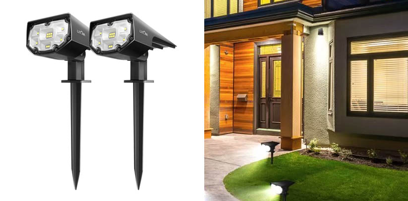 LITOM 12 LEDs Solar Landscape Spotlights