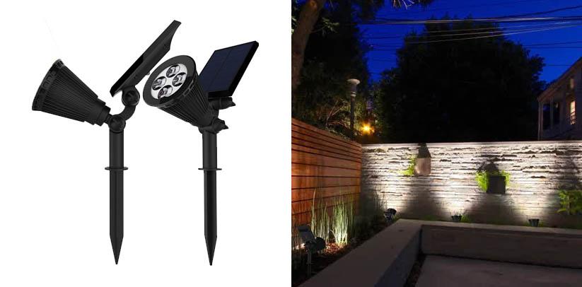 Magictec Solar Spotlights, Warm Light 2-in-1 Adjustable 4 LED Landscape Solar Tree Lights