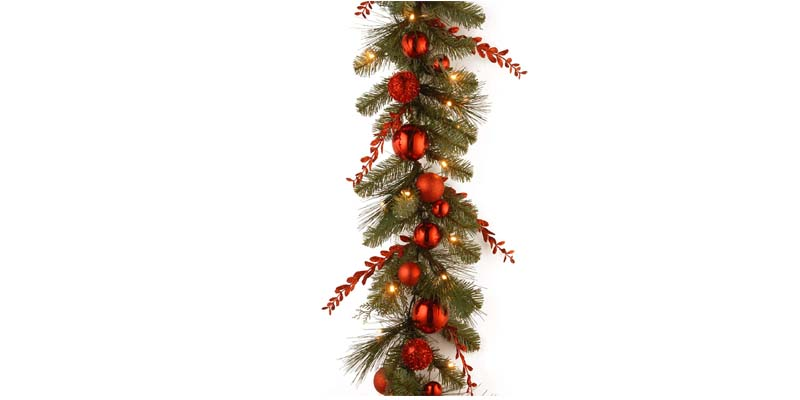 National Tree Company Decorative Collection Red Mixed Garland With Sprigs