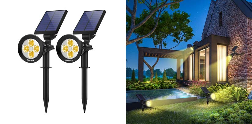 Nekteck 2 Pack Solar Lights 2 in 1 Outdoor Solar Tree Spotlights