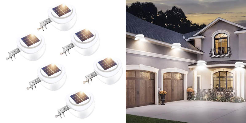 Solar Gutter Lights, Outdoor 9 LED Fence Light