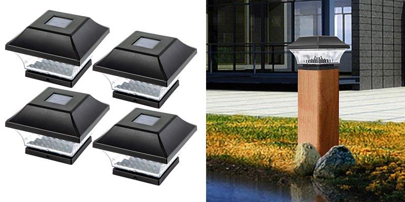 Solar Post Cap Lights Outdoor- 4 Pack LED Fence Post Lights