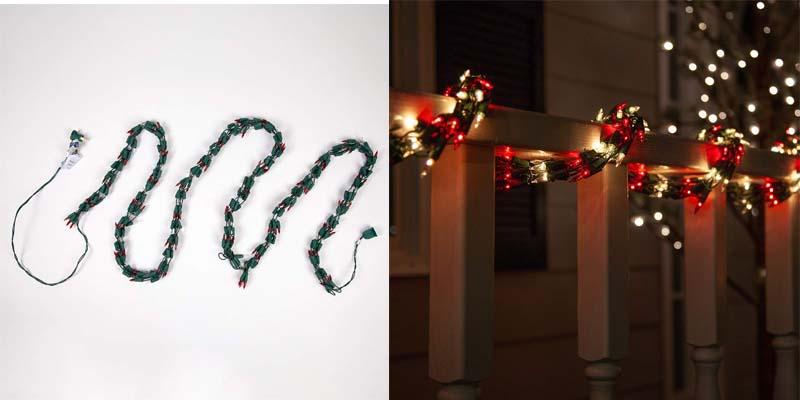 Wintergreen Lighting Garland Red & White Christmas Lights