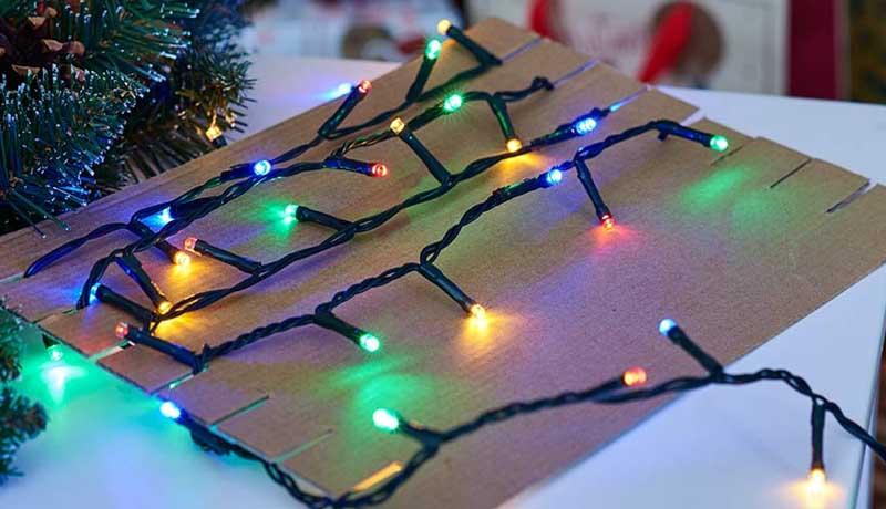 Wrapping Christmas Lights Around Cardboard Tubes