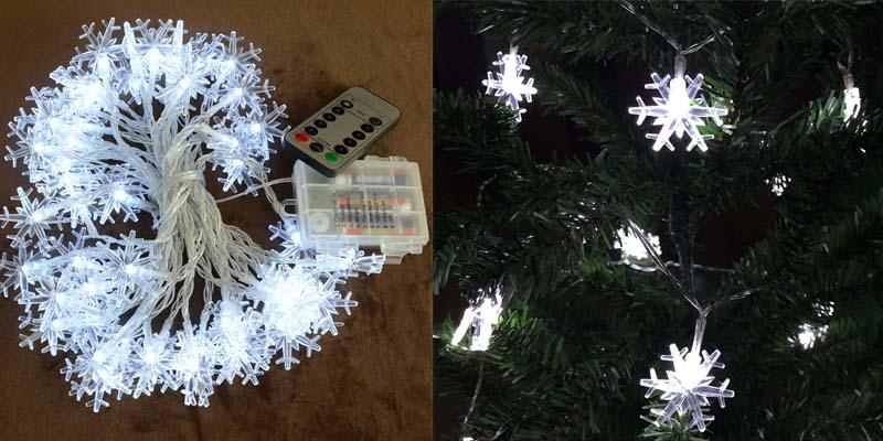 Homeleo White Snowflake LED Fairy Lights