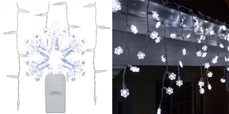 LED Cool White Snowflake Icicle Lights
