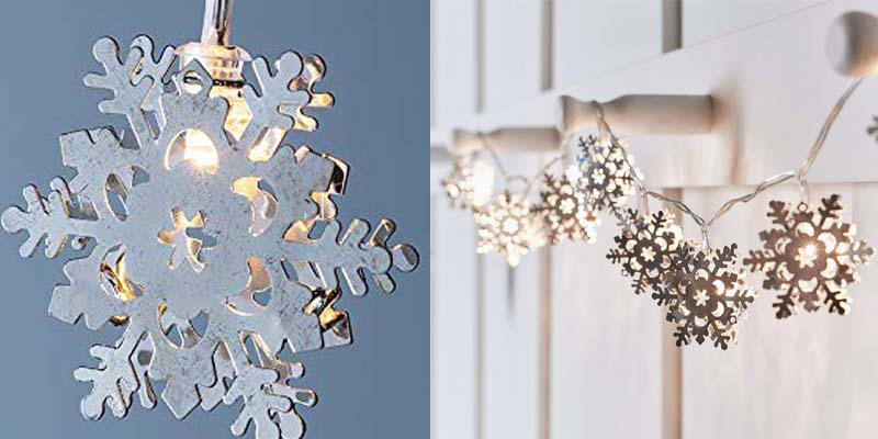 Silver Snowflake LED Indoor Christmas String Lights