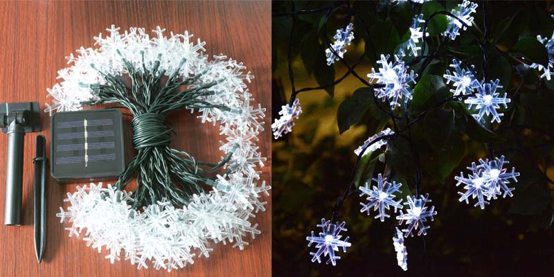 Windpnn Solar Christmas Snowflake String Lights