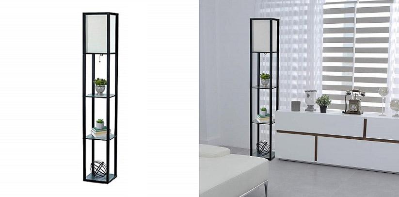 Simple Designs Home BLK Etagere Organizer LED Floor Lamp