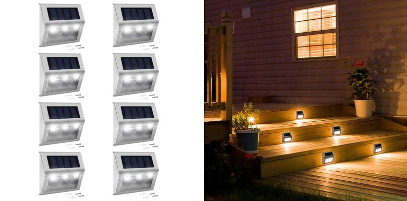 Solar Step Lights with Larger Battery Capacity JACKYLED LED Solar Powered Deck Lights