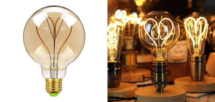 Mobestech Heart Shaped Vintage Edison Bulb